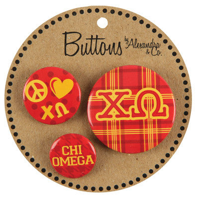 Chi Omega Sorority Buttons - Alexandra Co. a1055