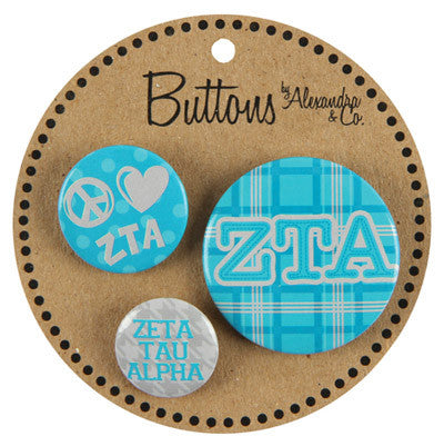Zeta Tau Alpha Sorority Buttons - Alexandra Co. a1055