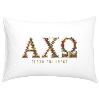 Alpha Chi Omega Floral Cotton Pillowcase - Alexandra Co. a3016