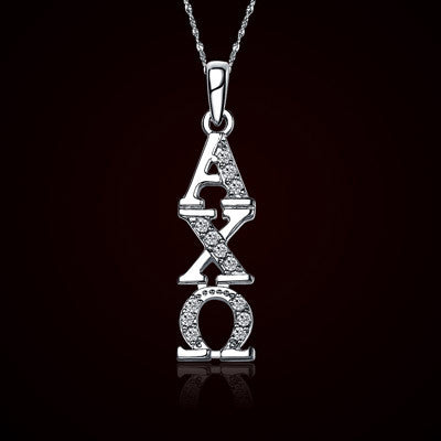 Alpha Chi Omega Vertical Lavalier w/ Stones - GSTC-ACO-P001