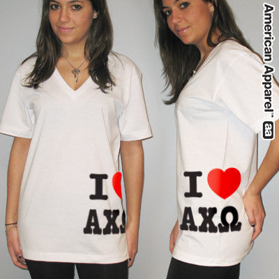 I Love Alpha Chi Omega Printed V-Neck Tee - American Apparel 2456W - CAD