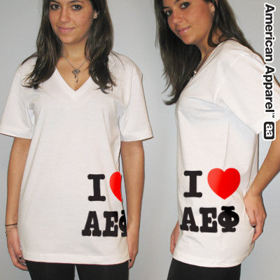 I Love Alpha Epsilon Phi Printed V-Neck Tee - American Apparel 2456W - CAD