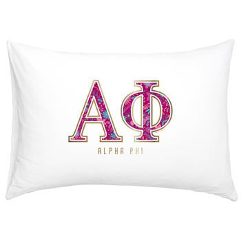 Alpha Phi Floral Cotton Pillowcase - Alexandra Co. a3016