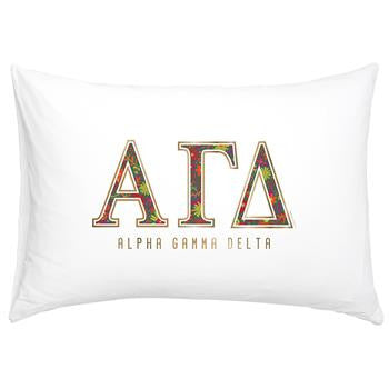 Alpha Gamma Delta Floral Cotton Pillowcase - Alexandra Co. a3016