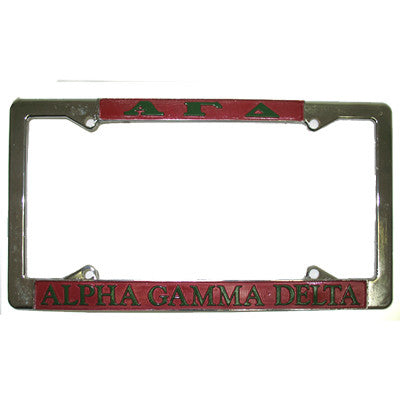 Alpha Gamma Delta License Plate Frame - Rah Rah Co. rrc