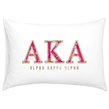 Alpha Kappa Alpha Floral Cotton Pillowcase - Alexandra Co. a3016