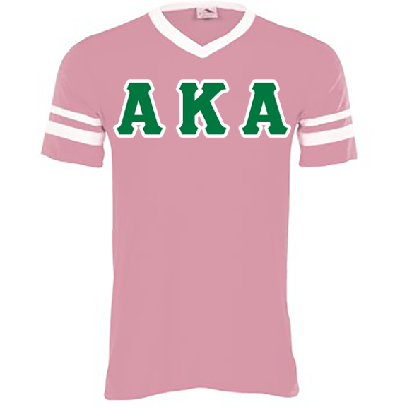 Alpha Kappa Alpha Striped Tee with Twill Letters - Augusta 360 - TWILL