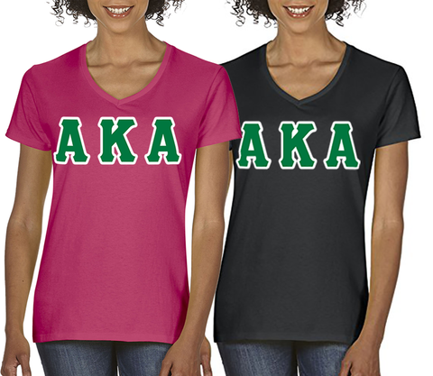 Alpha Kappa Alpha Horizontal V-Neck Package - American Apparel 2456W - TWILL
