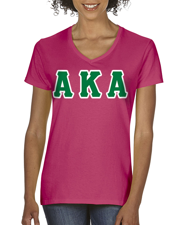 Alpha Kappa Alpha Sorority V-Neck with Horizontal Twill Letters - American Apparel 2456W - TWILL