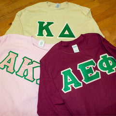 Sorority Letter Long Sleeve Shirt with Glitter Options - G240 - Twill