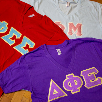 Sorority Letter V-Neck with Glitter Options - AA2456- Twill