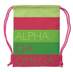 Alpha Chi Omega Drawstring Backpack - a1009