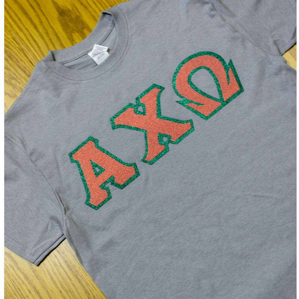Sorority Letter T Shirt With Glitter Options G500 Twill