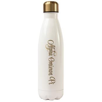 Alpha Omicron Pi Stainless Steel Shimmer Water Bottle- a3001