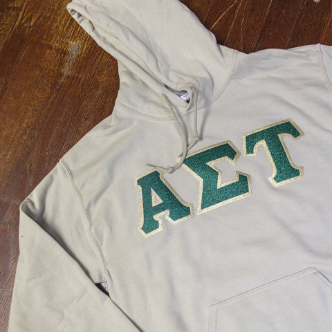 Sorority Letter Hooded Sweatshirt with Glitter Options - G185 - Twill