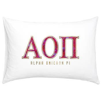 Alpha Omicron Pi Floral Cotton Pillowcase - Alexandra Co. a3016