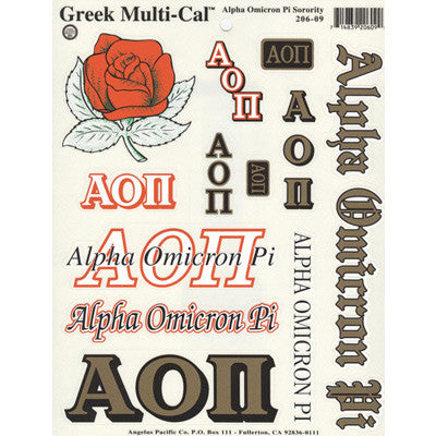 Alpha Omicron Pi Multi-Cal Stickers