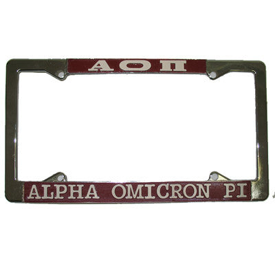 Alpha Omicron Pi License Plate Frame - Rah Rah Co. rrc
