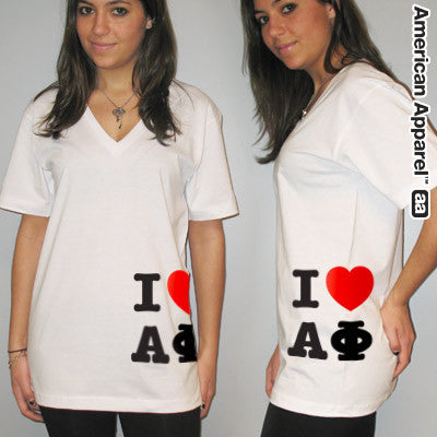 I Love Alpha Phi Printed V-Neck Tee - American Apparel 2456W - CAD