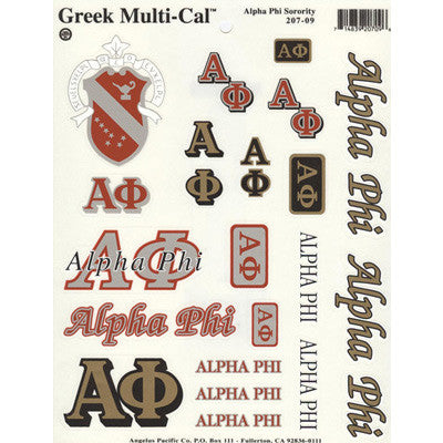 Alpha phi multi cal stickers greek accessories for Lil flip jewelry collection
