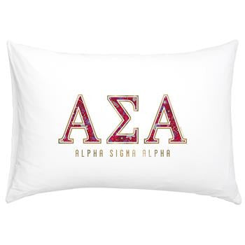Alpha Sigma Alpha Floral Cotton Pillowcase - Alexandra Co. a3016
