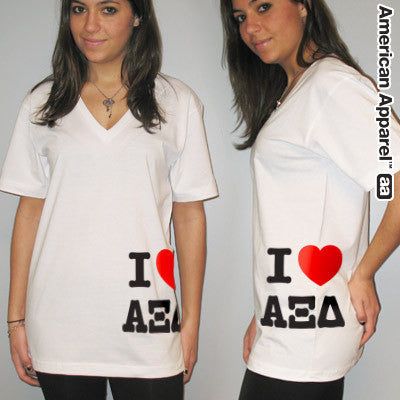 I Love Alpha Xi Delta Printed V-Neck Tee - American Apparel 2456 - CAD