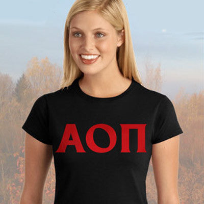 Alpha Omicron Pi Ladies' Softstyle Printed T-Shirt - Gildan 6400L - CAD