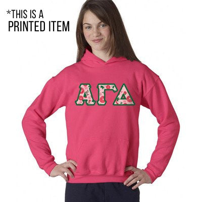Sorority Printed Pattern Hooded Sweatshirt - Gildan 18500 - DIG