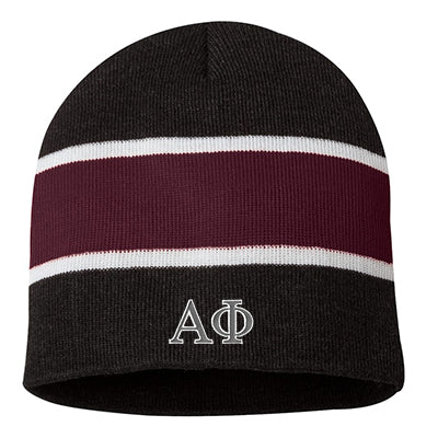 Sorority Embroidered Striped Knit Beanie - SP06 - EMB