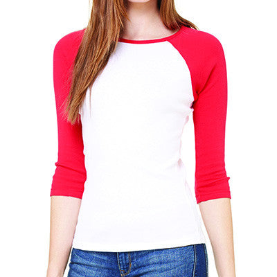Sorority Lettered Baseball Baby Tee - Bella 2000 - TWILL