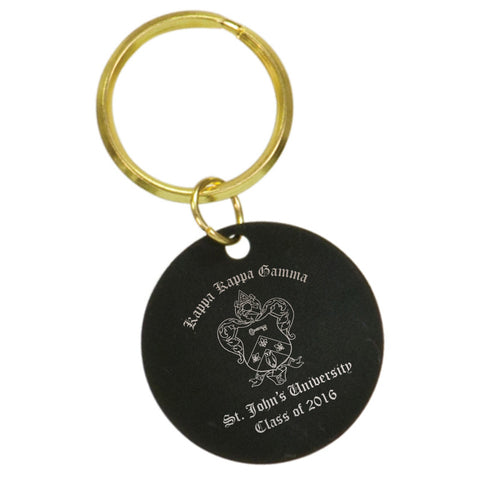 Custom Greek Graduation Black Circle Keychain - BKR43 - LZR