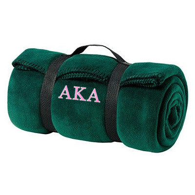 Alpha Kappa Alpha Fleece Blanket - Port and Company BP10 - EMB