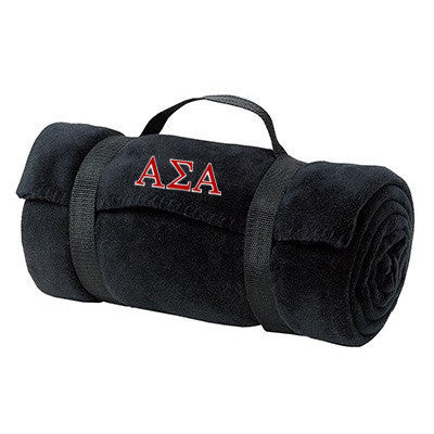 Alpha Sigma Alpha Fleece Blanket - Port and Company BP10 - EMB