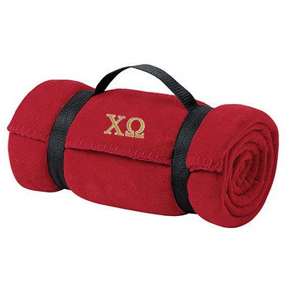 Chi Omega Fleece Blanket - Port and Company BP10 - EMB