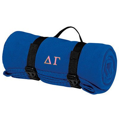 Delta Gamma Fleece Blanket - Port and Company BP10 - EMB