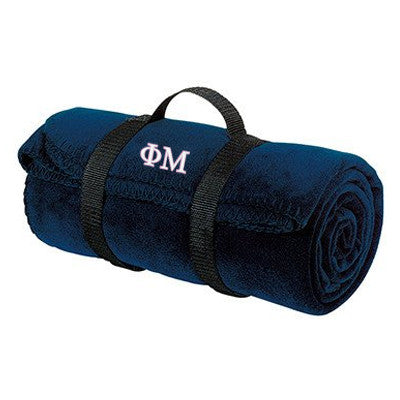 Phi Mu Fleece Blanket - Port and Company BP10 - EMB