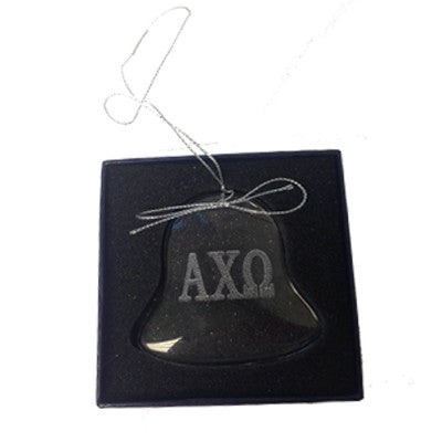 Greek Bell Engraved Glass Christmas Ornament - CRY1402
