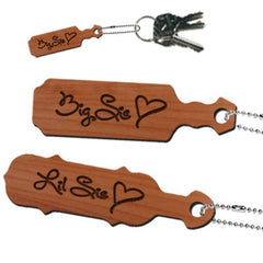 Big Sis or Lil Sis Engraved Paddle Keychain - LZR