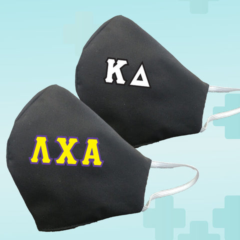 Greek Fraternity Sorority Letters Black Reusable Face Mask Covering - Made in USA - 100% Cotton - Poppi 2.0 - DIG