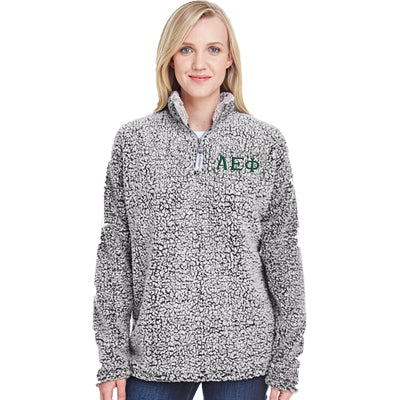 Sorority Embroidered Unisex Sherpa Quarter-Zip Pullover - Q10 - Boxercraft - 3D Emb. Letters - EMB