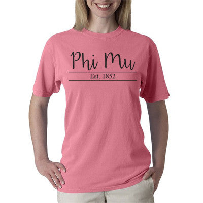 Sorority Established Comfort Colors Printed T-Shirt - C1717 - CAD