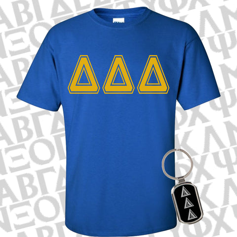 Sorority Bid Day Special Varsity Printed Shirt and Metal Keychain Package - Gildan G500 - CAD - GFT090
