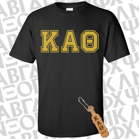 Sorority Bid Day Special Varsity Printed Shirt and Paddle Keychain Package - Gildan G500 - CAD