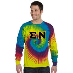 Greek Tie-Dye Sewn-On Letter Long-Sleeve T-shirt - Gildan CD2000 - TWILL