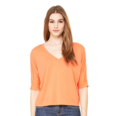 Sorority Printed Flowy V-Neck Cropped Tee - Bella 8825 - CAD