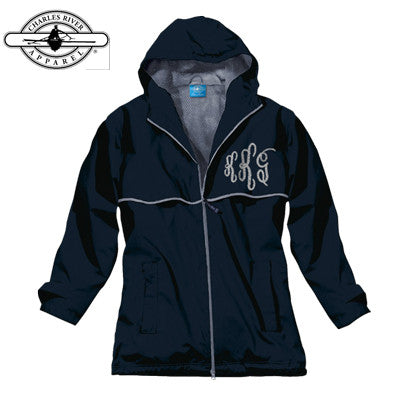 Sorority Rain Jacket with Script Monogram - Charles River 5099 - EMB