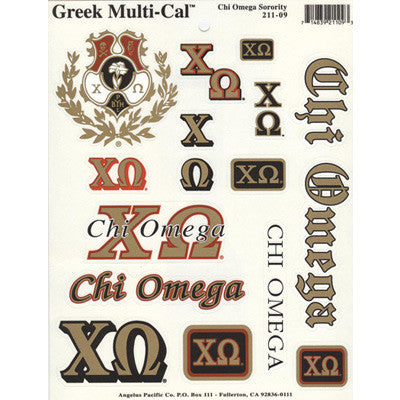 Chi Omega Multi-Cal Stickers