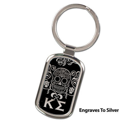 Greek Engraved Sugar Skull Keychain - GFT090 - LZR