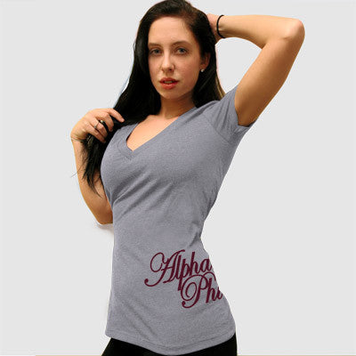 Alpha Phi Deep V Sorority Printed Tee - Next Level 6640 - CAD