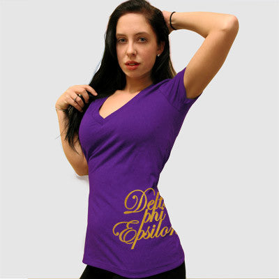 Delta Phi Epsilon Deep V Sorority Printed Tee - Next Level 6640 - CAD